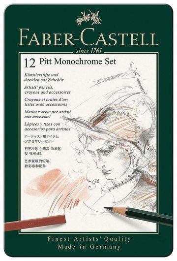Набор художественный Faber-castell Pitt Monochrome, 12 предметов, металлическая коробка Faber-castell