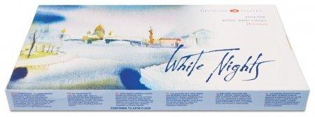 """Краски акварельные художественные """"Белые ночи"""", 24 цвета, кювета 2,5 мл, пластиковая коробка  Невская палитра"""