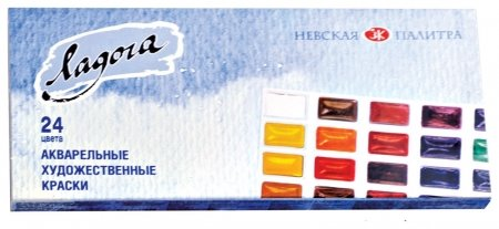 """Краски акварельные художественные """"Ладога"""", 24 цвета, кювета 2,5 мл, картонная коробка  Невская палитра"""