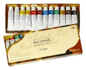 Краски масляные художественные Студия набор 10 цветов по 9 мл + 2 белых цвета  Гамма
