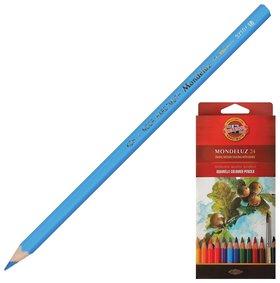 Карандаши цветные акварельные художественные 24 цвета, 3,8 мм Mondeluz