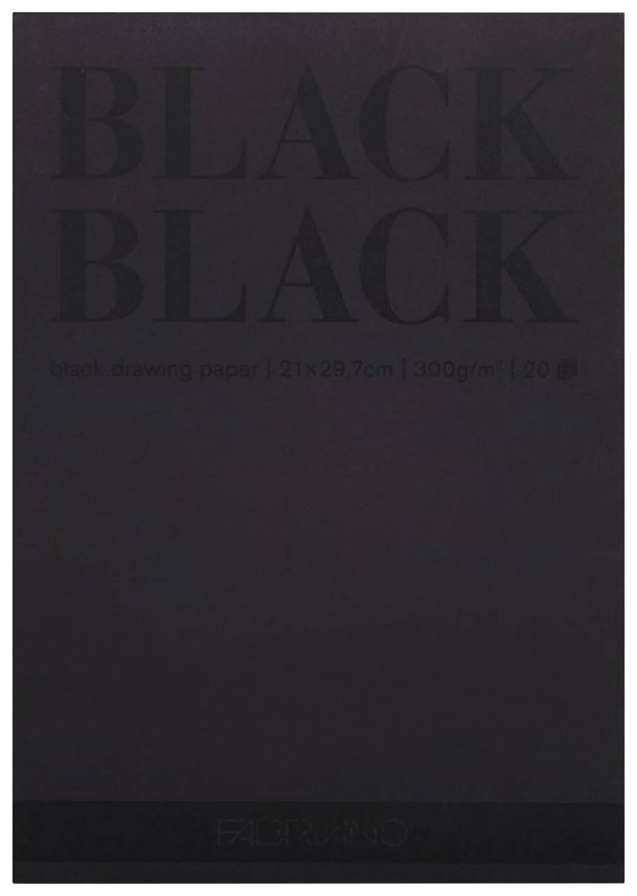 Альбом для зарисовок А4 (210x297 мм) FABRIANO BlackBlack, черная бумага, 20 листов, 300 г/м2  Fabriano