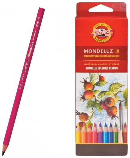 Карандаши цветные акварельные художественные 18 цветов, 3,8 мм Mondeluz Koh-i-noor