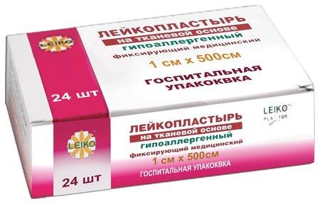 Лейкопластырь медицинский фиксирующий в рулоне Leiko комплект 24 шт., 1х500 см, на тканевой основе, белого цвета, госпитальная упаковка  Leiko