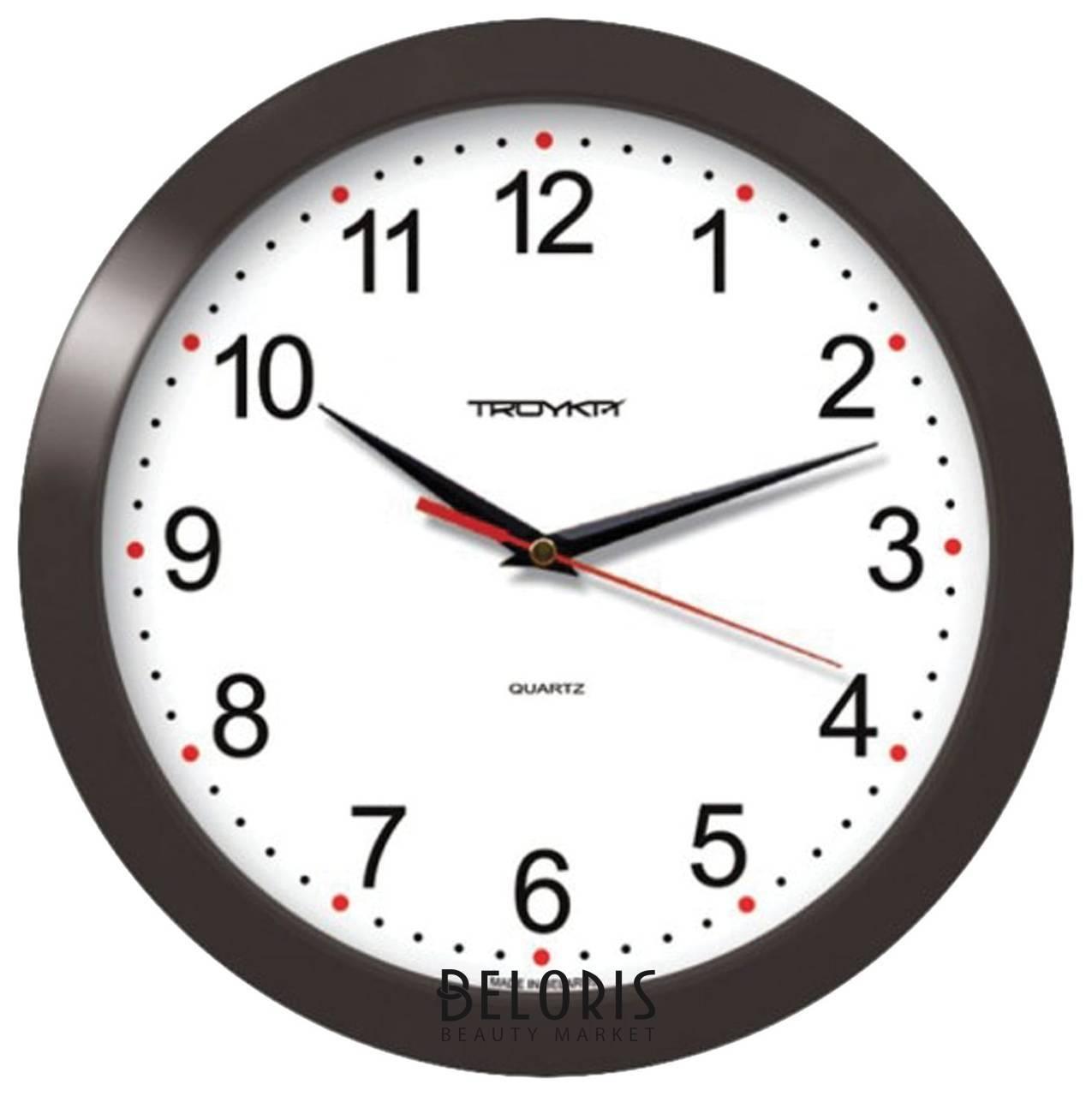 Часы настенные TROYKA 11100112, круг, белые, черная рамка, 29х29х3,5 см Troyka