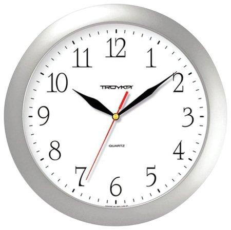Часы настенные Troyka 11170113, круг, белые, серебристая рамка, 29х29х3,5 см  Troyka