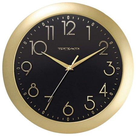 Часы настенные Troyka 11171180, круг, черные, золотая рамка, 29х29х3,5 см  Troyka
