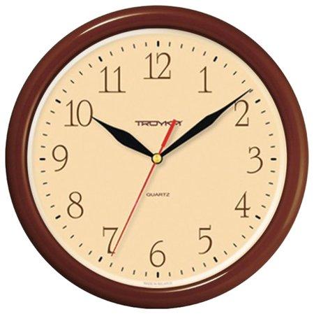Часы настенные Troyka 21234287, круг, бежевые, коричневая рамка, 24,5х24,5х3,1 см  Troyka