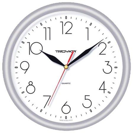 Часы настенные TROYKA 21270212, круг, белые, серебристая рамка, 24,5х24,5х3,1 см  Troyka