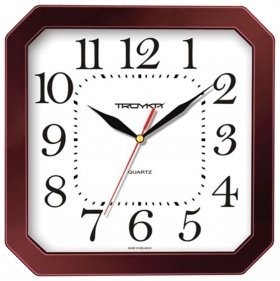 Часы настенные TROYKA 31331316, восьмигранник, белые, коричневая рамка, 29х29х3,5 см  Troyka