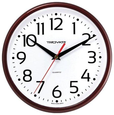 Часы настенные TROYKA 91931912, круг, белые, коричневая рамка, 23х23х4 см  Troyka