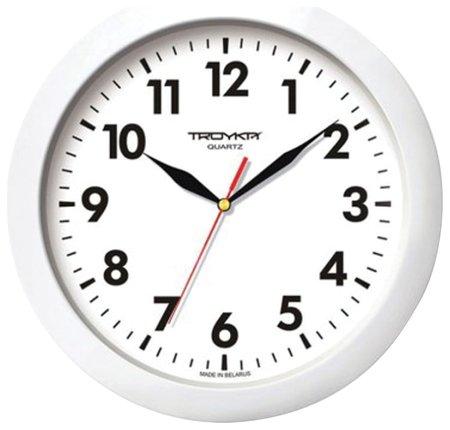 Часы настенные TROYKA 11110118, круг, белые, белая рамка, 29х29х3,5 см  Troyka