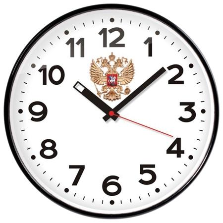 Часы настенные TROYKA 77770732 круг, белые, черная рамка, 30,5х30,5х4 см  Troyka