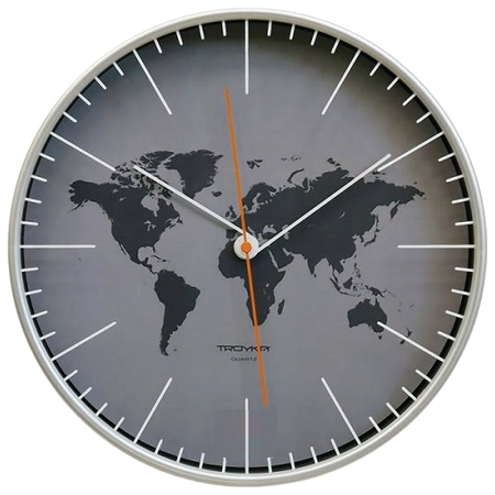 Часы настенные TROYKA 77777733, круг, серые, серебристая рамка, 30,5х30,5х5 см  Troyka