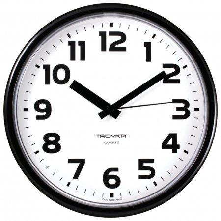 Часы настенные TROYKA 91900945, круг, белые, черная рамка, 23х23х4 см  Troyka