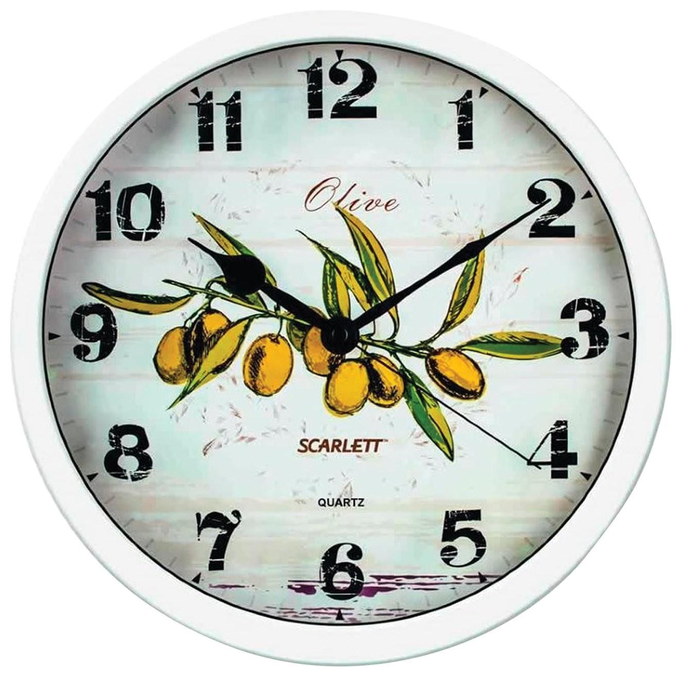 "Часы настенные SCARLETT SC-WC1005K, круг, белые с рисунком ""Олива"", белая рамка, 31x31x5,2 см  Scarlett"
