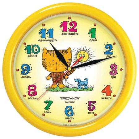 """Часы настенные TROYKA 21250290, круг, желтые с рисунком """"Котенок"""", желтая рамка, 24,5х24,5х3,1 см  Troyka"""