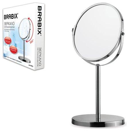Зеркало косметическое настольное круглое, диаметр 17 см, двустороннее с увеличением, Brabix  Brabix