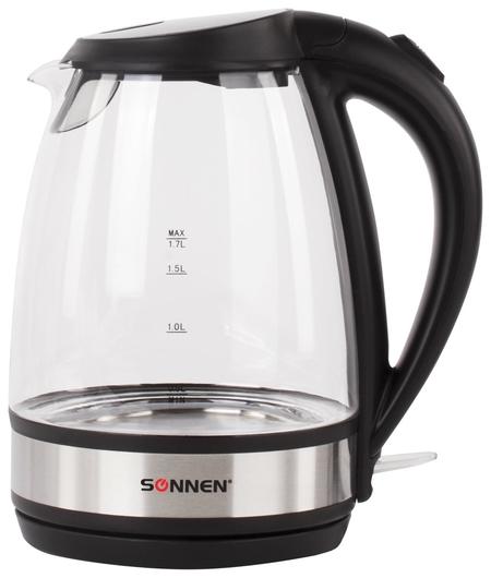 Чайник SONNEN KT-201, 1,7 л, 2200 Вт, закрытый нагревательный элемент, стекло, подсветка, черный   Sonnen