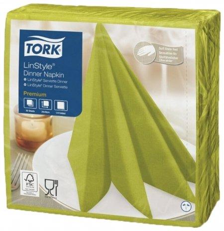 Салфетки бумажные нетканые сервировочные TORK LinStyle Premium, 39х39 см, 50 шт., фисташковые  Tork