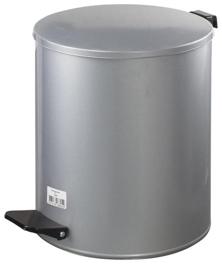 Ведро-контейнер для мусора с педалью усиленное, 15 л, кольцо под мешок, серое, оцинкованная сталь  КНР