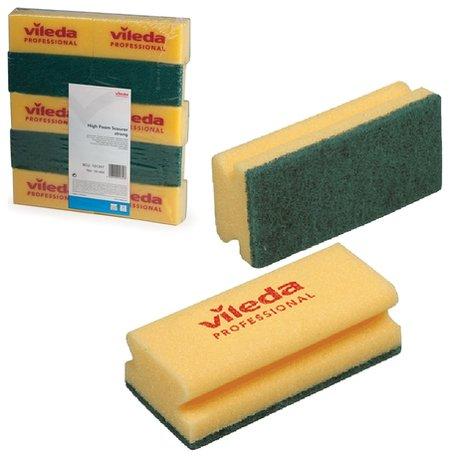 """Губки Vileda """"Виледа"""", комплект 10 шт., для любых поверхностей, желтые, зеленый абразив, 7х15 см  Vileda"""