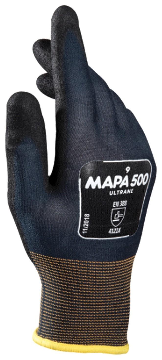 Перчатки текстильные MAPA Ultrane 500, нитриловое покрытие (облив), маслостойкие, размер 10 (XL), черные  Mapa