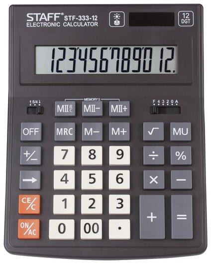 Калькулятор настольный Staff Plus Stf-333 (200x154 мм), 12 разрядов, двойное питание  Staff