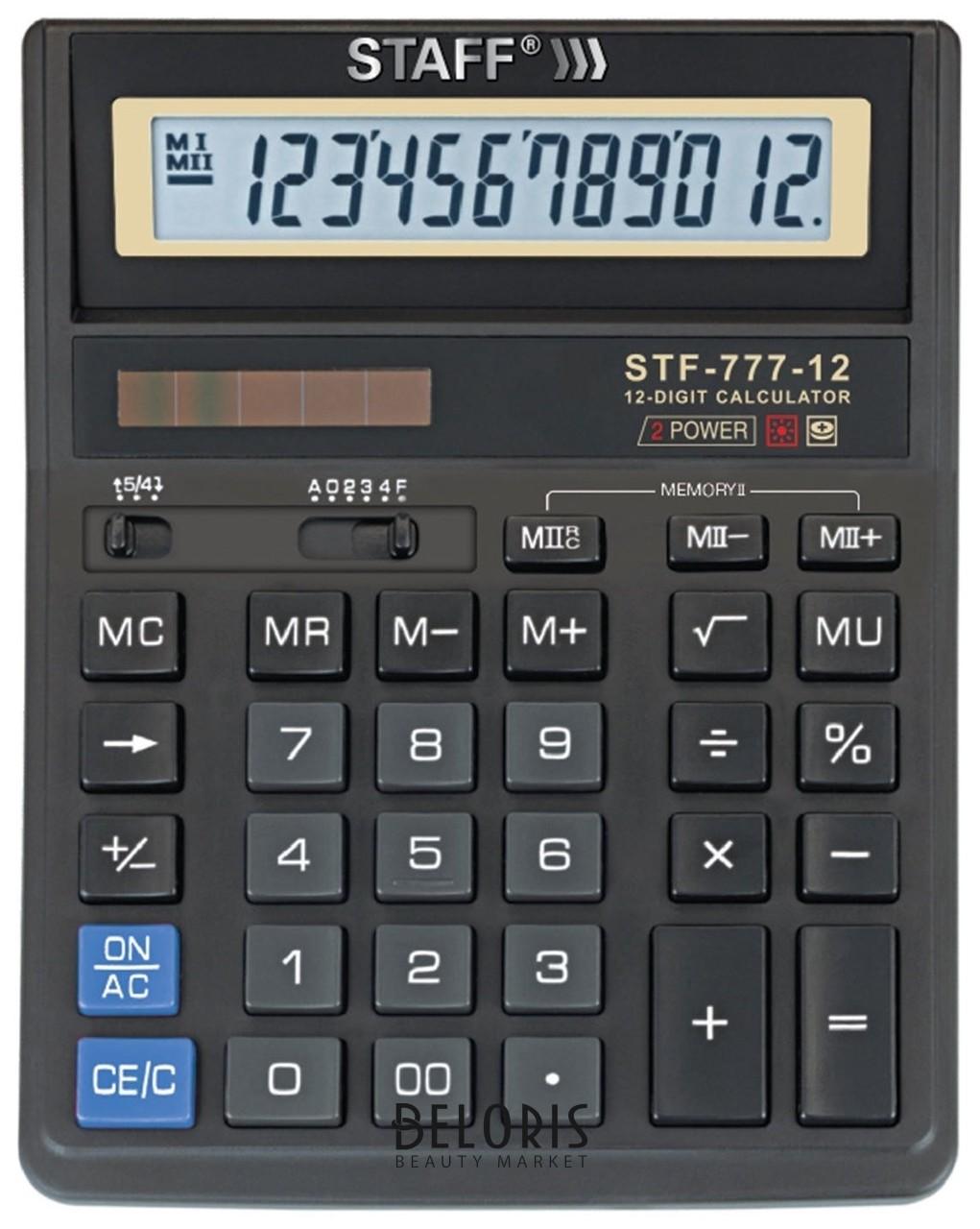 Калькулятор Staff настольный Stf-777, 12 разрядов, двойное питание, 210x165 мм, черный Staff