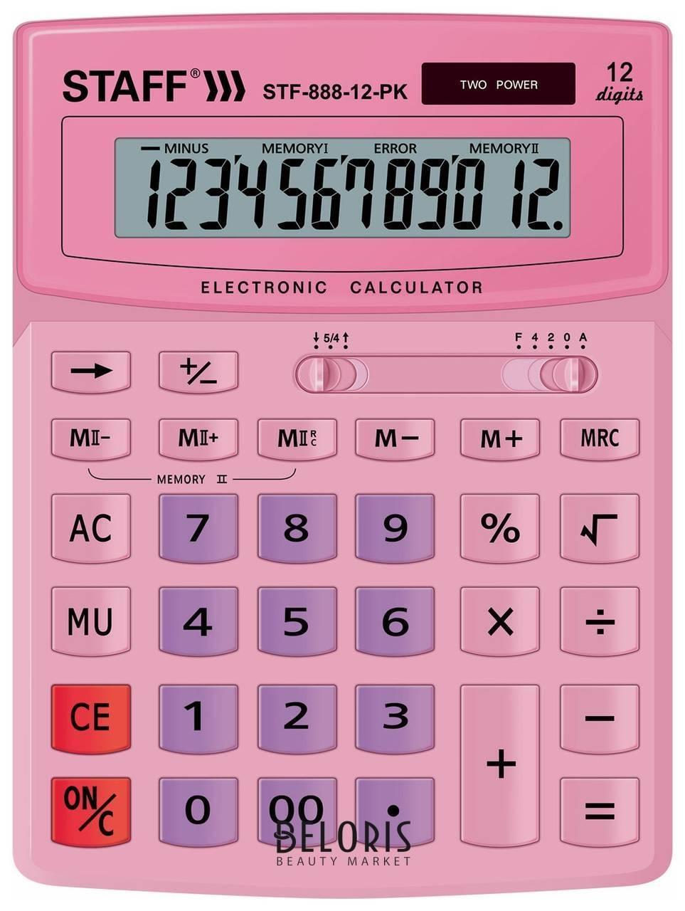 Калькулятор настольный Staff Stf-888-12-pk (200х150 мм) 12 разрядов, двойное питание, розовый Staff