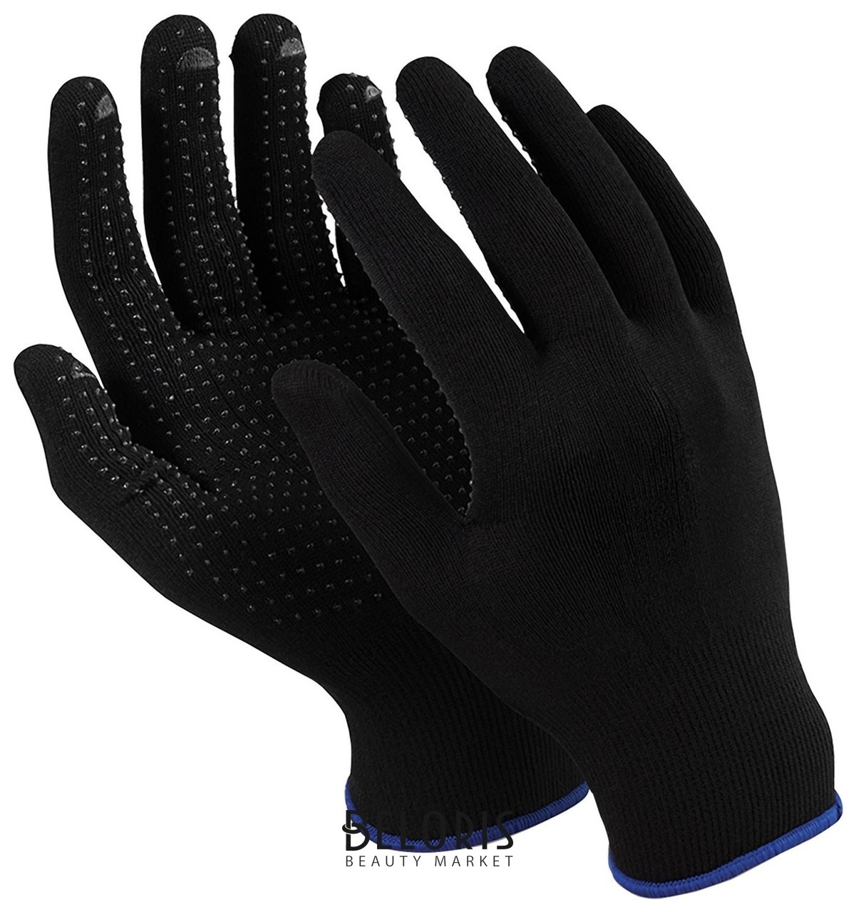 Перчатки MANIPULA Микрон Блэк ПВХ, ПВХ-точка, комплект 10 пар, размер 9 (L), черные Manipula