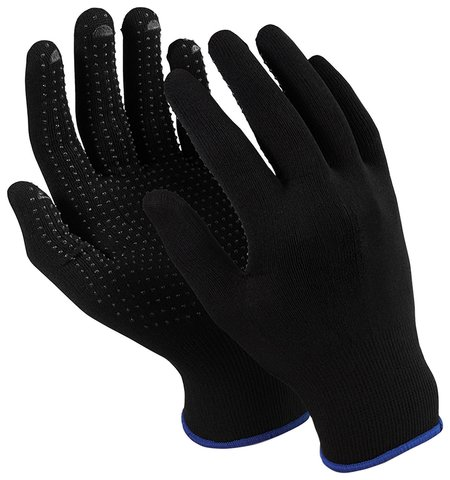 "Перчатки MANIPULA ""Микрон Блэк ПВХ"", ПВХ-точка, комплект 10 пар, размер 10 (XL), черные  Manipula"
