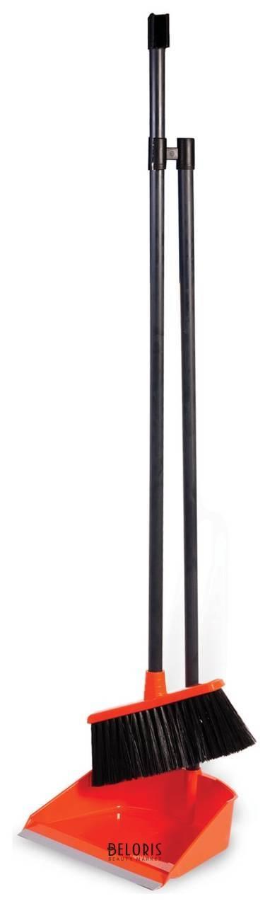 Совок для мусора 25х20 см + щетка-сметка 20х8 см на длинных рукоятках 80 см, пластик, оранжевый, IDEA  Idea