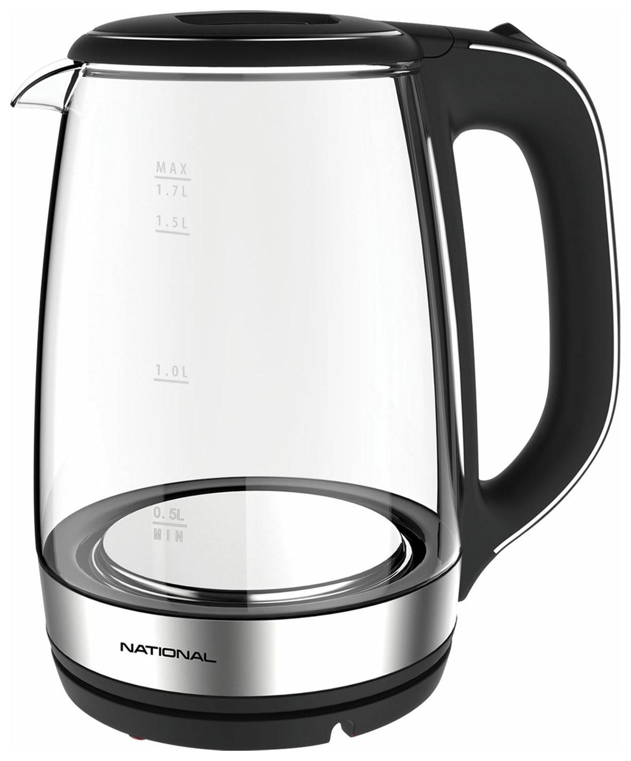 Чайник NATIONAL NK-KE17312, объем 1,7 л, 2200 Вт, закрытый нагревательный элемент, стекло, черный  National