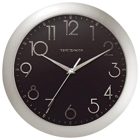 Часы настенные TROYKA 11170182, круг, черные, серебристая рамка, 29х29х3,5 см  Troyka