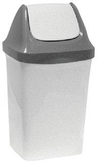 """Ведро-контейнер 15 л, с крышкой (качающейся), для мусора,""""Свинг"""", 47х27х23 см, серое, IDEA"""