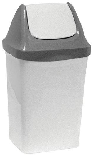 """Ведро-контейнер 15 л, с крышкой (качающейся), для мусора,""""Свинг"""", 47х27х23 см, серое, IDEA  Idea"""