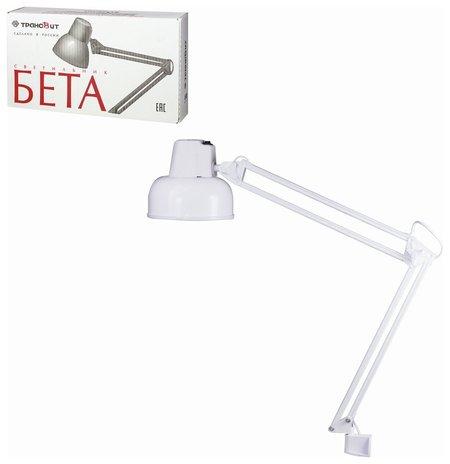 """Светильник настольный """"Бета"""", на струбцине, лампа накаливания / люминесцентная / светодиодная до 60 Вт, белый, высота 70 см   Трансвит"""