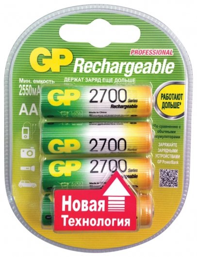Батарейки аккумуляторные GP, АА, Ni-Mh, 2700 mAh, комплект 4 шт., в блистере  GР