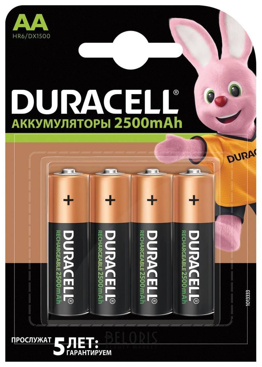 Батарейки аккумуляторные DURACELL, АА (HR06), Ni-Mh, 2500 mAh, комплект 4 шт., в блистере  Duracell
