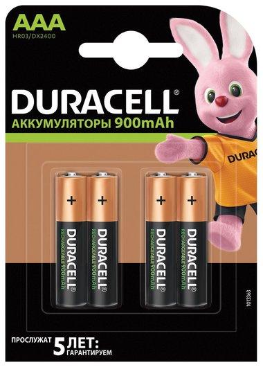 Батарейки аккумуляторные DURACELL, AAA (HR03), Ni-Mh, 900 mAh, комплект 4 шт., в блистере   Duracell