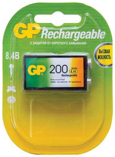 Батарейка аккумуляторная GP, Крона (20R8H, 6F22), Ni-Mh, 200 mAh, 1 шт., в блистере   GР