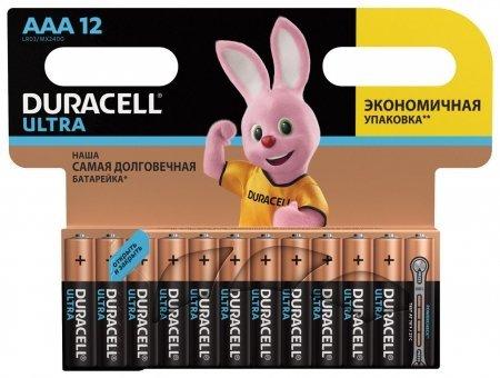 Батарейки DURACELL Ultra Power, AAA (LR03, 24А), алкалиновые, комплект 12 шт., в блистере  Duracell