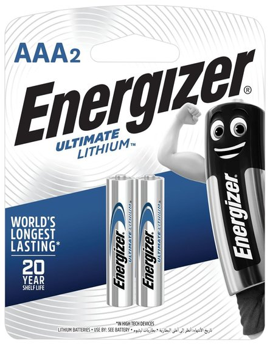 Батарейки ENERGIZER Ultimate Lithium, AAA (FR03, 24А), литиевые, комплект 2 шт., в блистере   Energizer