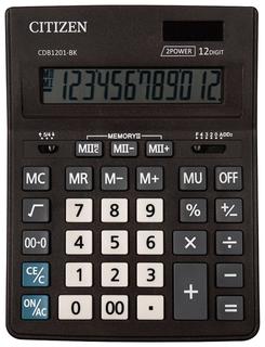 Калькулятор настольный CITIZEN BUSINESS LINE CDB1201BK (205x155 мм), 12 разрядов, двойное питание  Citizen