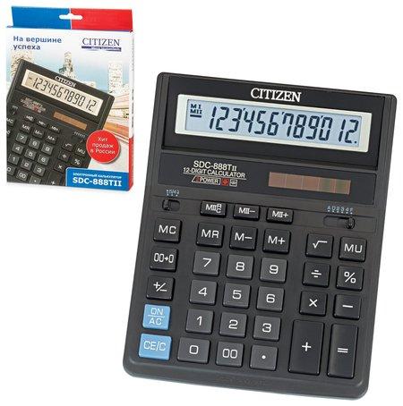 Калькулятор настольный CITIZEN SDC-888TII (203х158 мм), 12 разрядов, двойное питание  Citizen