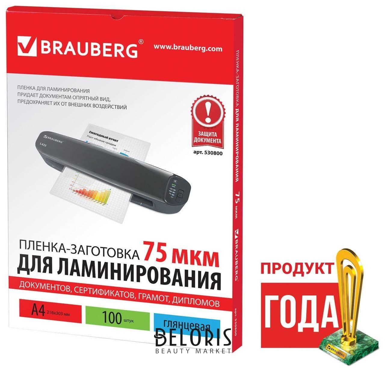 Пленки-заготовки для ламинирования, А4, комплект 100 шт., 75 мкм, BRAUBERG  Brauberg