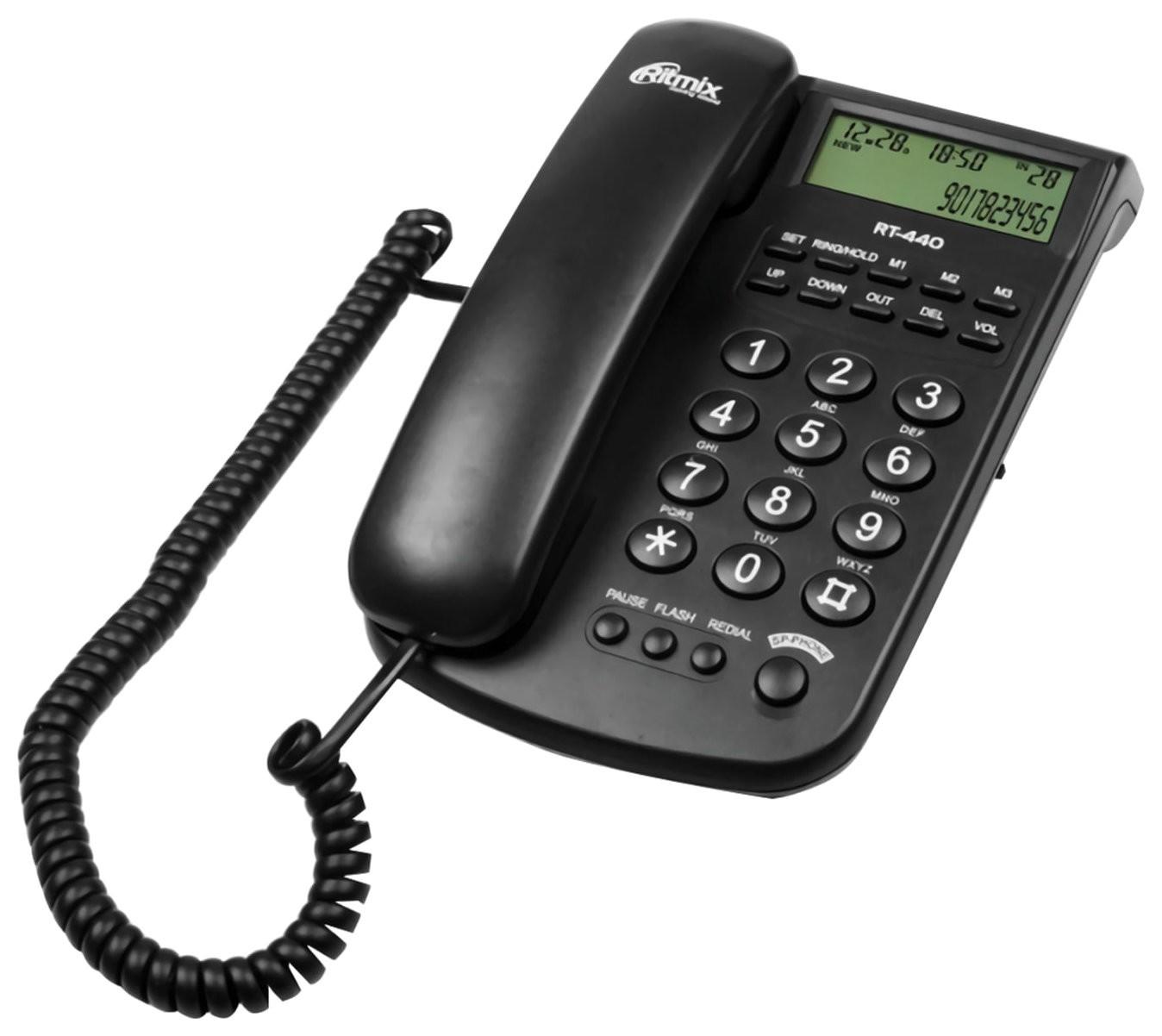 Телефон RITMIX RT-440 black, АОН, спикерфон, быстрый набор 3 номеров, автодозвон, дата, время, черный  Ritmix
