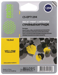 Картридж струйный CACTUS (CS-EPT1294) для EPSON Stylus B42WD/BX305W/BX625WD, желтый Cactus